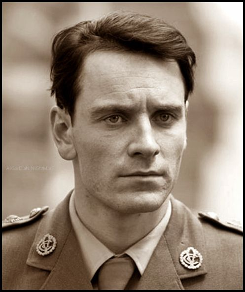 Michael in uniform....smoulder soldier!  Today,my favourite Fassbender feature is the frown.