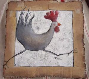 poule peinte