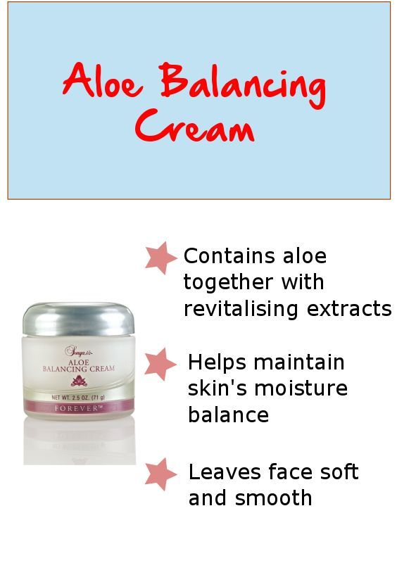 Aloe Balancing Cream contains aloe, HA, vitamin E plus revitalising and advanced moisturisers. These rich ingredients help maintain proper moisture balance while helping to protect and nourish the skin.