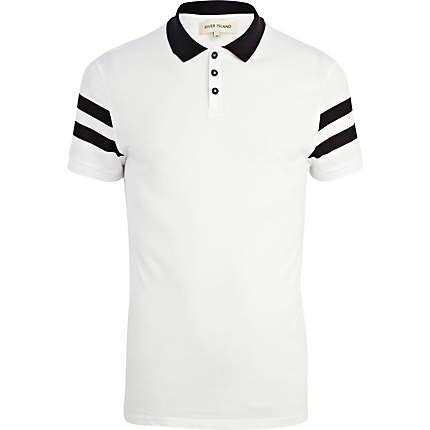 White stripe sleeve polo shirt: