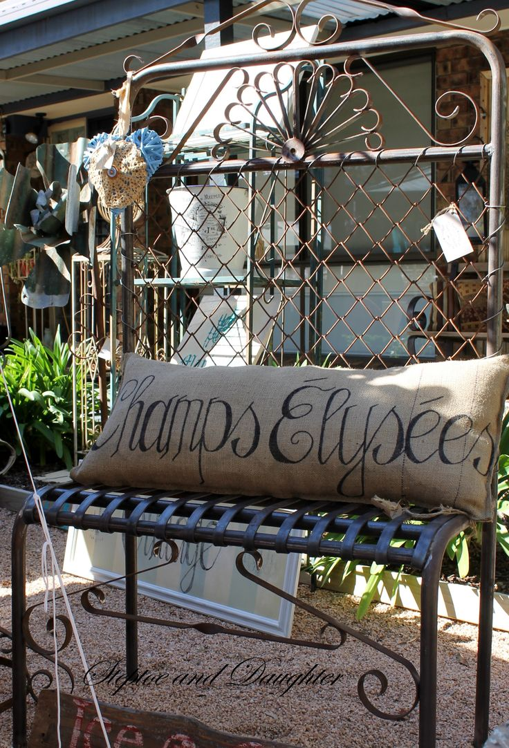Handcrafted rustic gate chair & hessian cushion