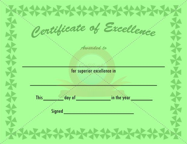 46 Best Certificate Of Excellence Templates Images On Pinterest