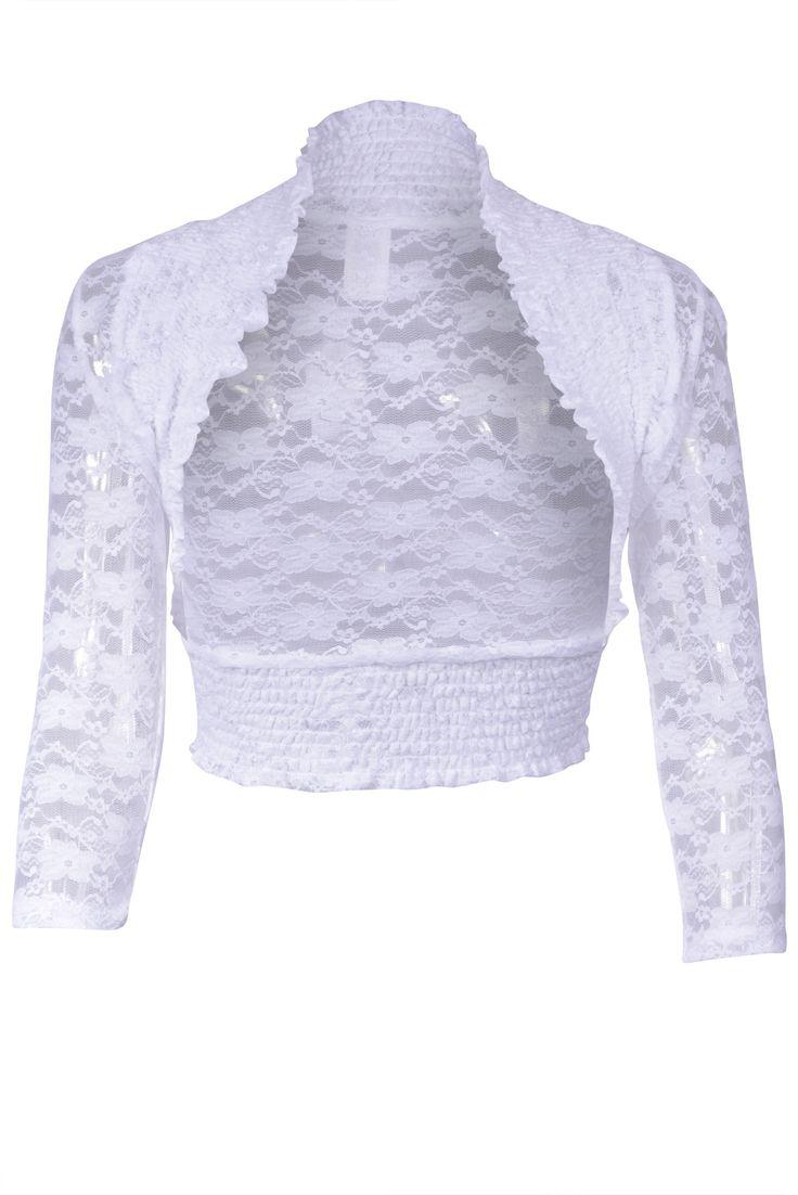 Lace Crochet Ruffled 3/4 Sleeve Open Front Wedding Bolero Shrug Jacket