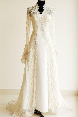 Long sleeve lace wedding jacket, lovely! Would be an easy way to dress up (and make modest)  a simple strapless gown!