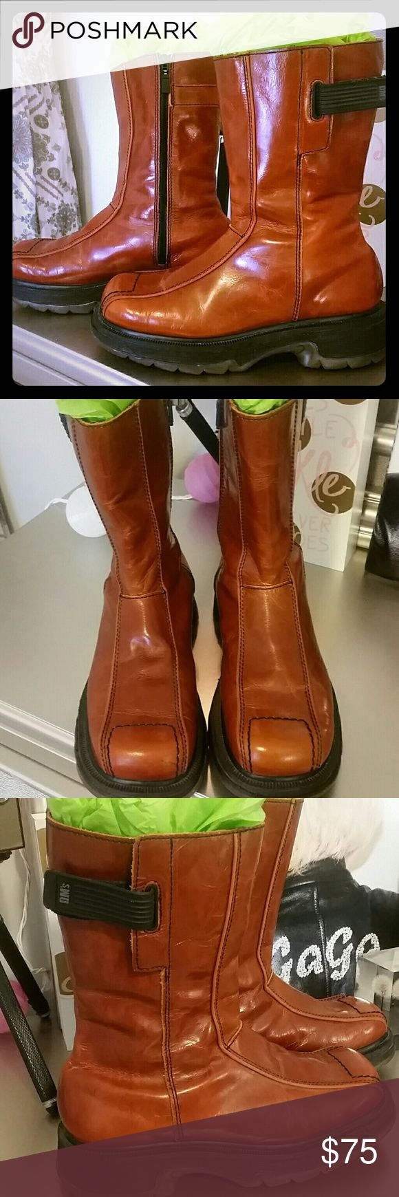 Brown/Burnt Orange Dr. Martens Unisex Boots Brown/Burnt Orange in color. Side zip up with velcro on the outside of boot at the top. Some creasing in leather from normal wear. Overall in pretty good, used condition! Men's size 6/women's size 8. Dr. Martens Shoes Boots