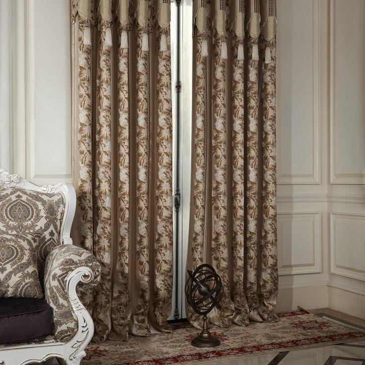 Neoclassical Stripe Lotus Jacquard Energy Saving Curtain  #curtains #homedecor #decor #homeinterior #interior #design #custommade
