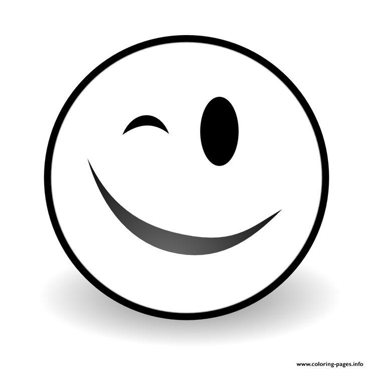print winky face emoji coloring pages | emoji coloring