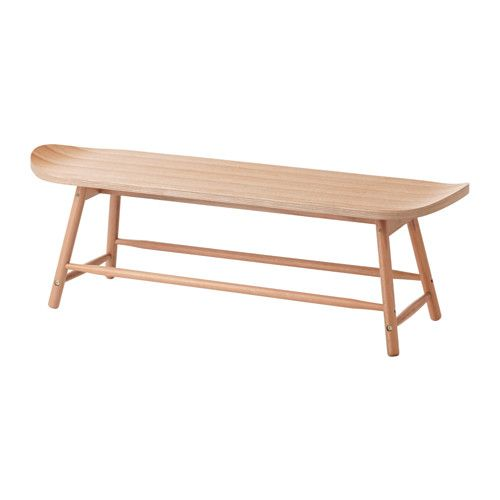 $150 IKEA - TILLFÄLLE, Bench, This surfboard-inspired bench has smooth, rounded edges and curved ends.Less risk of children hitting their head as the bench has rounded corners.Eucalyptus wood is a natural material with variations in the grain and color that makes each piece of wood furniture unique.