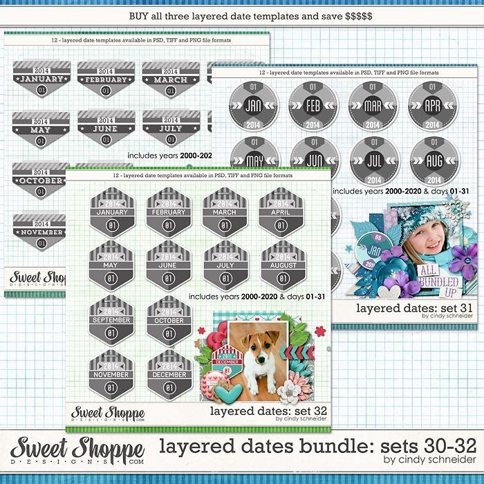 Cindy's Layered Dates Bundle: Set 30-32 by Cindy Schneider