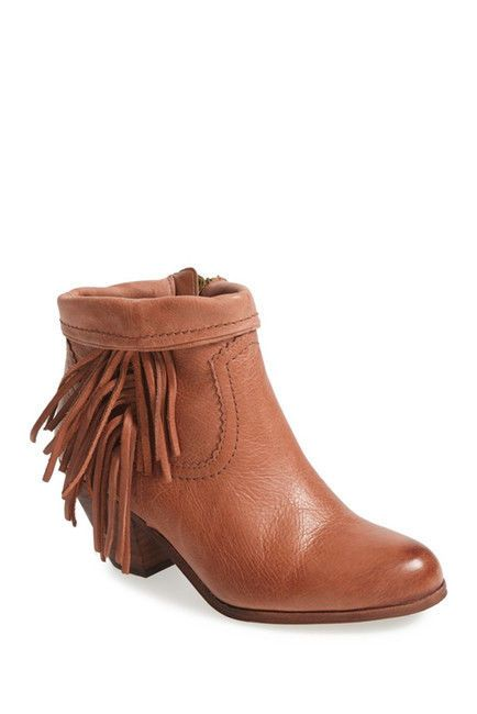 Sam Edelman Brown Leather Ankle Boots Booties Fringe Side Zip Western 10 M Louie #SamEdelman #AnkleBoots