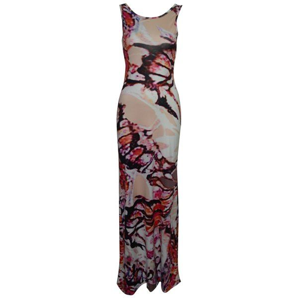 Elegant Scoop Neck Sleeveless Printed Criss-Cross Bodycon Women's Maxi Dress #CLICK! #clothing, #shoes, #jewelry, #women, #men, #hats, #watches
