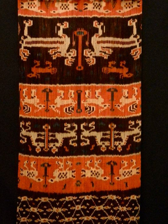 Vintage Asian Indonesian Indigo Ikat Textile from Sumba