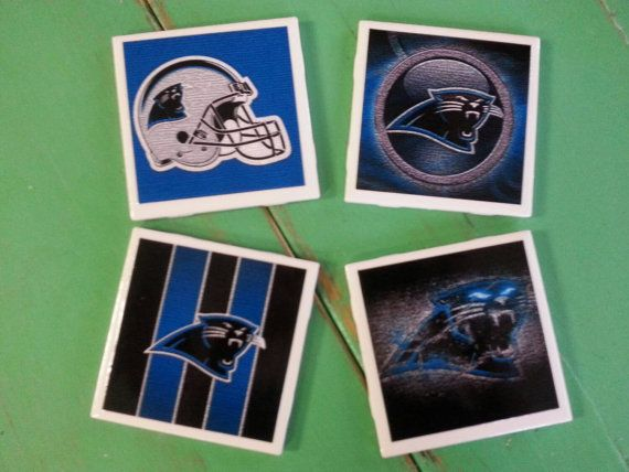 Check out this item in my Etsy shop https://www.etsy.com/listing/241138091/carolina-panthers-ceramic-coasters-set