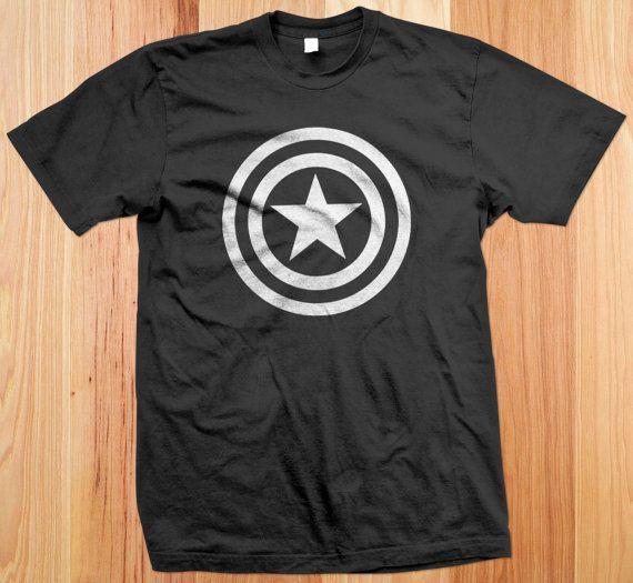 Captain America Logo Tshirt shield tshirt t shirt by WickedShirts