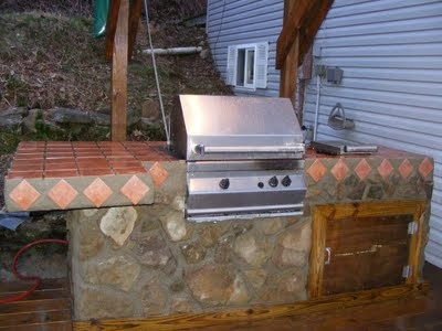 BBQ Grill Outdoor Kitchen Island For Porch, Deck, Back Yard Party. Stone And