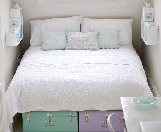 Floating Nightstands Above Bed | 32 DIY Storage Ideas for Small Spaces | DIY Organization Ideas for Small Spaces