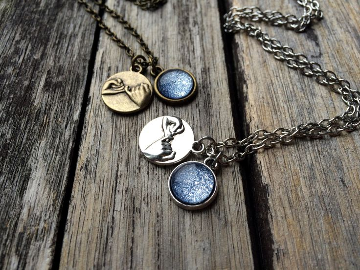 Set of 2 Pinky Promise necklaces, Ice Blue Necklaces by AChicFairytale on Etsy