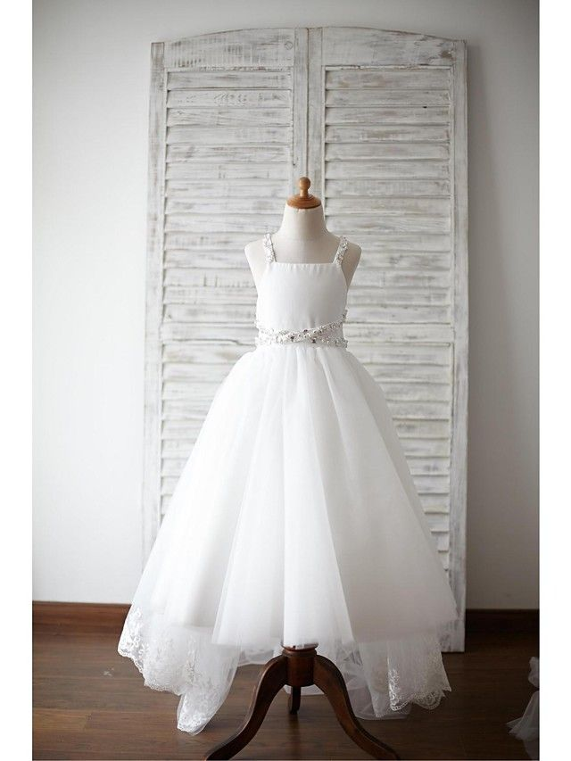 Corte en A Asimétrica Vestido de Niña Florista - Encaje / Satén / Tul Sin Mangas Tirantes con - USD $69.99