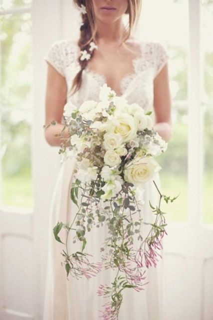 Cream and White Cascading Bouquet...i think I've pinned this before, but I just love cascading boquets!