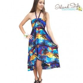 Ladies hawaiian Butterfly Dress Blue Sunset Floral Luau Party Dress wholesale cruisewear island clothing