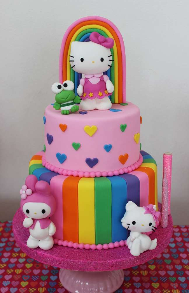 Hello Kitty rainbow birthday party cake! See more party planning ideas at CatchMyParty.com!