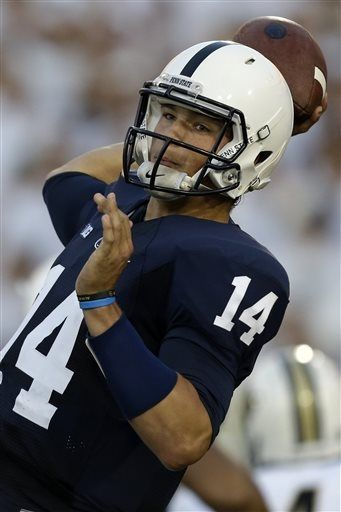 PENN STATE – FOOTBALL 2013 – Penn St quarterback Christian Hackenberg (14) throws a pass during the second quarter of an NCAA college football game against Central Florida in State College, Pa., Saturday, Sept. 14, 2013.
