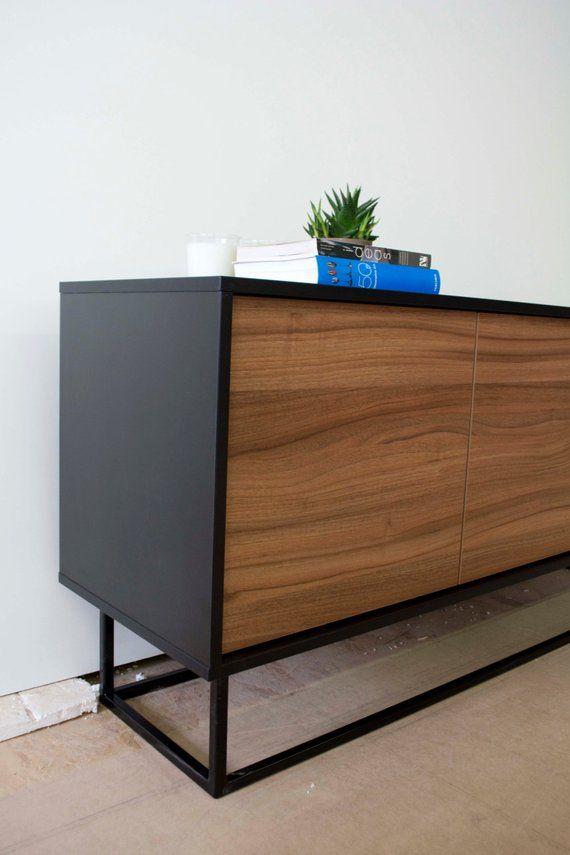 Midcentury Modern Sideboard Walnut And Black In 2019 Sideboard