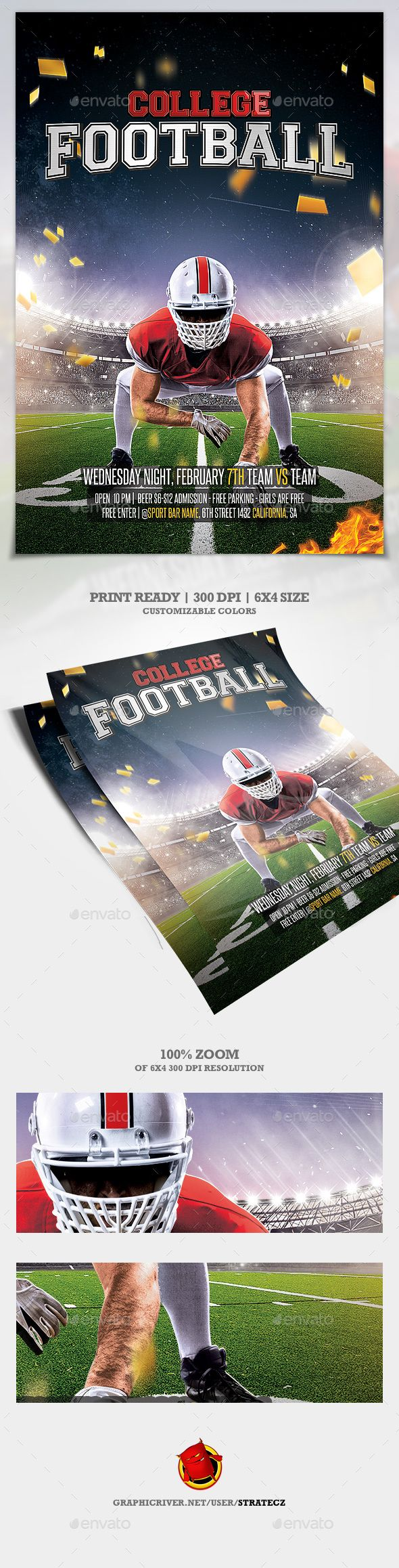 College Football / American Football Flyer — Photoshop PSD #american football #super bowl l • Download ➝ https://graphicriver.net/item/college-football-american-football-flyer/19567899?ref=pxcr