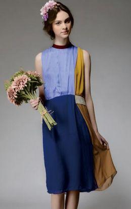 Blue Yellow Sleeveless Round Neck Silk Dress Front