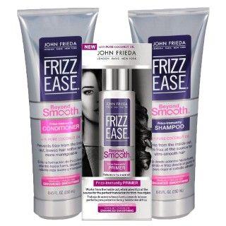 Kit Shampoo + Condicionador + Primer John Frieda Frizz Ease Beyond Smooth Frizz Immunity    http://busca.epocacosmeticos.com.br/busca?q=frizz+ease&p=fr&typeclick=1&ranking=4&ac_pos=header&busca=ne