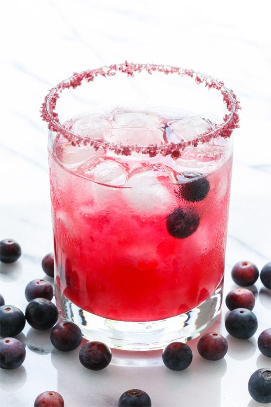 Fresh Blueberry Margarita Recipe with Blueberry Salt Rim