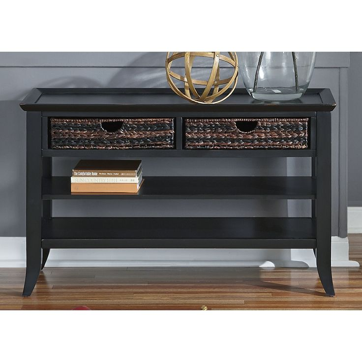 this gorgeous liberty sofa table features a rubbed black finish over a solid hardwood and birch