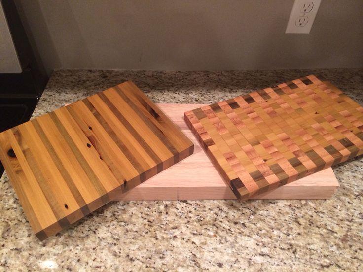 Homemade cutting blocks.