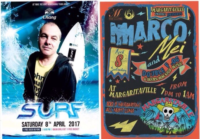 Double gig for me in this beautiful sunny day in Thailand  U can catch me playing in White Sand beach at Mac Resort for Surf Pool Party from 5pm till 7 pm and this evening in Lonely Beach at Margaritaville from 9pm onwards alongside Double F.OG ! 🙏🎧☺