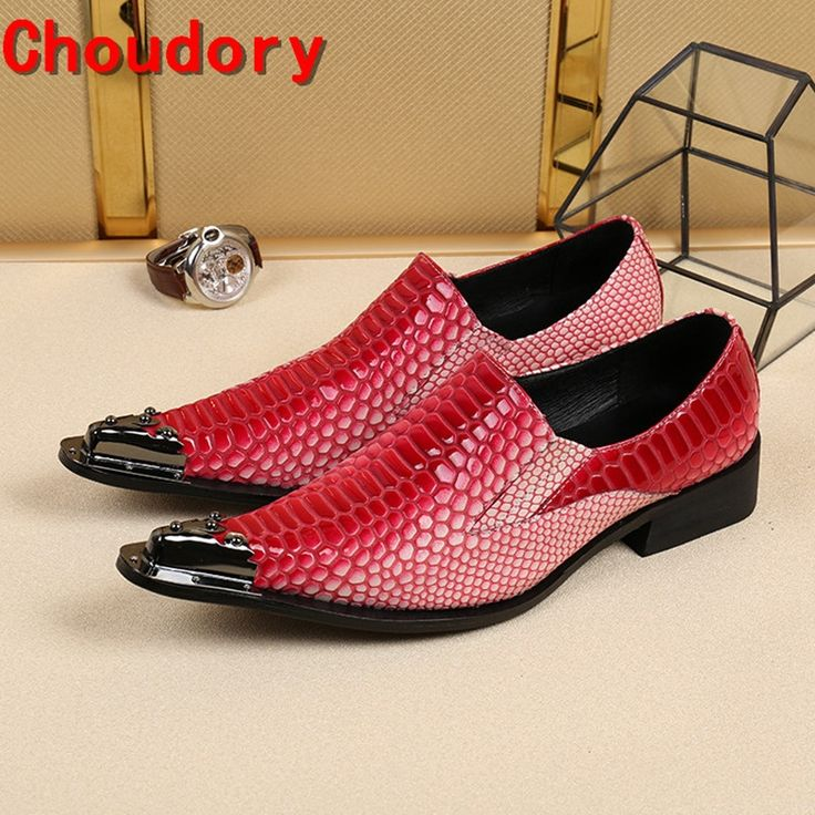 87.72$  Buy here - http://ali2mk.shopchina.info/go.php?t=32810151062 - Choudory european mens dress shoes iron pointy classic genuine leather loafers red crocodile skin prom shoes flats  #aliexpressideas