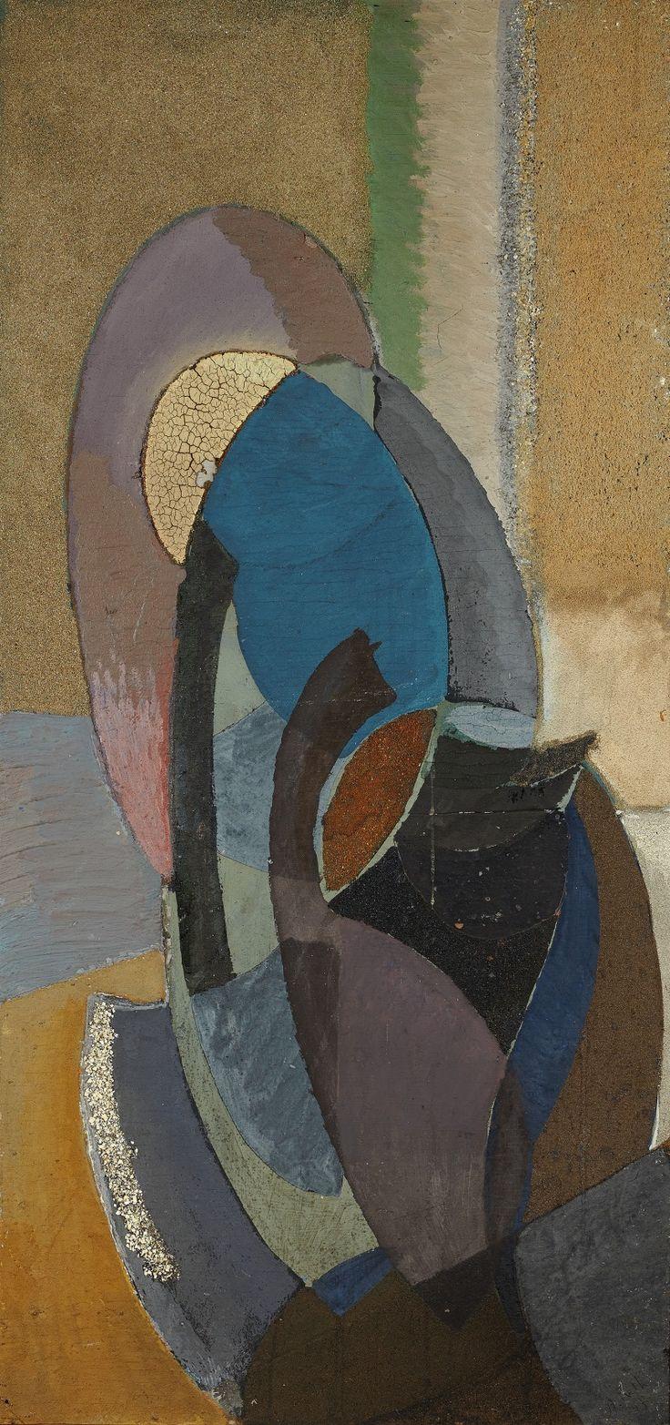 """blastedheath: """"Alfréd Réth (Hungarian, 1884-1966), Composition, 1947. Oil, sand and mixed media on panel, 100 x 47 cm. """""""
