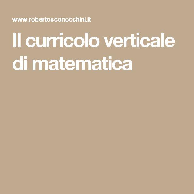 Il curricolo verticale di matematica
