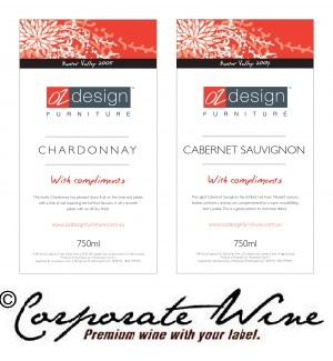This Furniture Design Company chose a Corporate Wine Custom Designed Label for their complimentary wine gifts.