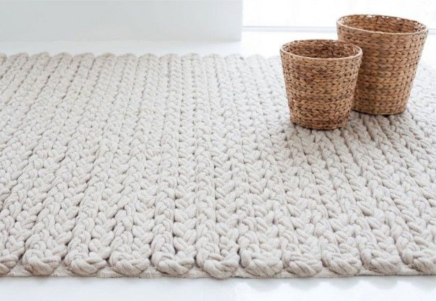 Tappeto moderno bianco - Tappeto di lana bianco.