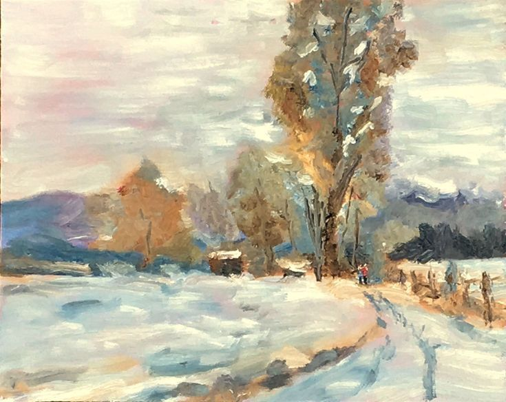 Buy A winter walk! An original oil painting on board! Lovely gift!, Oil painting by Julian Lovegrove Art on Artfinder. Discover thousands of other original paintings, prints, sculptures and photography from independent artists.