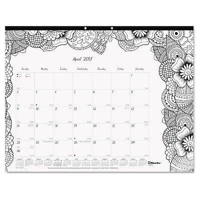 "Blueline DoodlePlan Desk Pad Calendar with Coloring Pages, 22"" x 17"", 2017, Black"