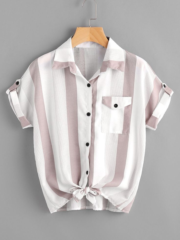 Shop Contrast Striped Roll Tab Sleeve Knotted Hem Shirt online. SheIn offers Contrast Striped Roll Tab Sleeve Knotted Hem Shirt & more to fit your fashionable needs.