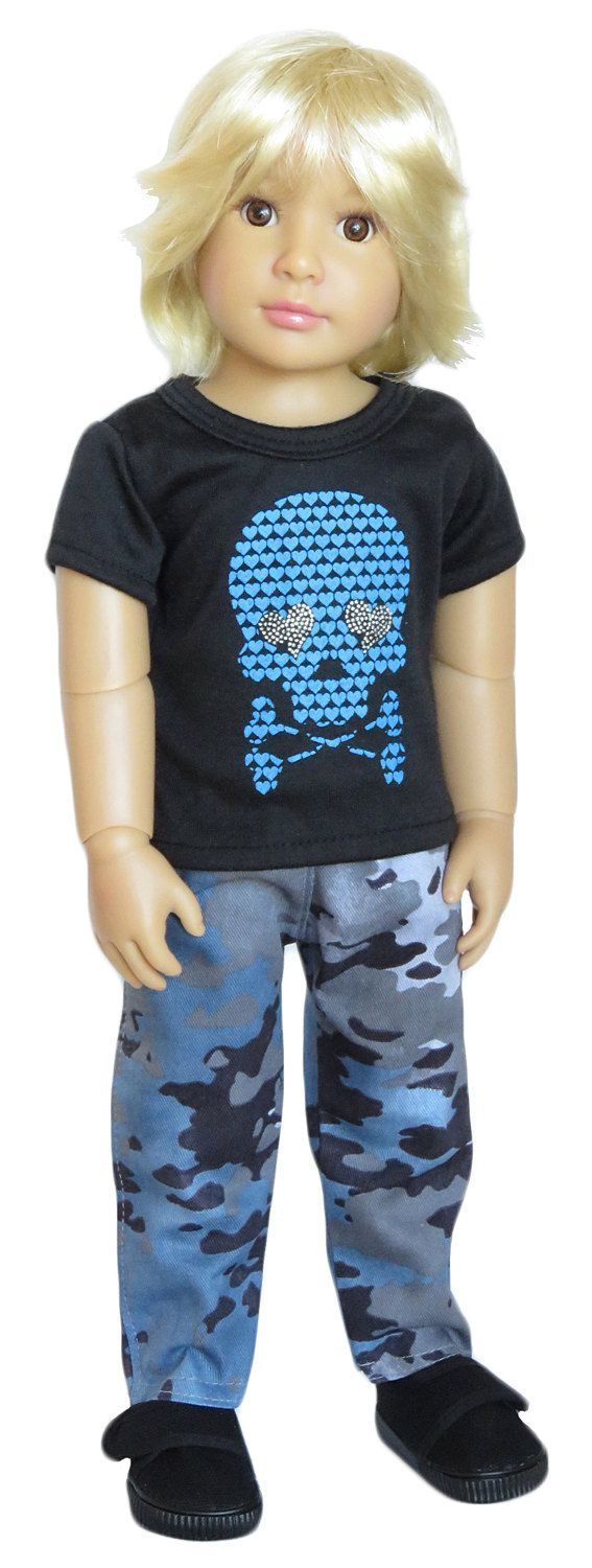 Black Skull Tee Blue Camo Pants and Black Shoes. by SillyMonkeyInc