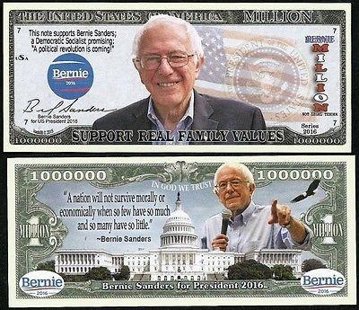 Bernie Sanders: Lot Of 100 Bills-Bernie Sanders For President 2016 Million Dollar Bill BUY IT NOW ONLY: $10.5