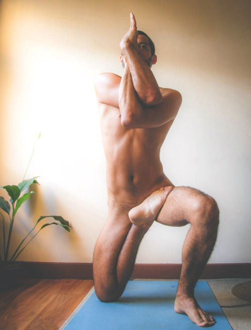 Nude yoga lick myself