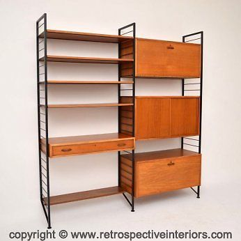RETRO TEAK LADDERAX BY STAPLES SHELVING WALL UNIT - CABINET / DESK VINTAGE 1960s | eBay