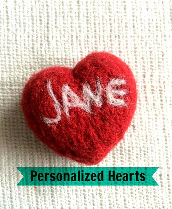 Personalized Heart  Personalized Gift  Needle by KubuHandmade