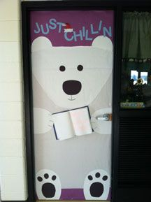 """""""Just Chillin with a Good Book""""  - This is a cute example of how to create a polar bear display for your classroom door for winter."""