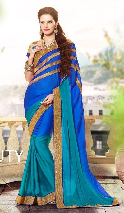 USD 84.47 Blue Lace Work Satin Party Wear Saree 40362