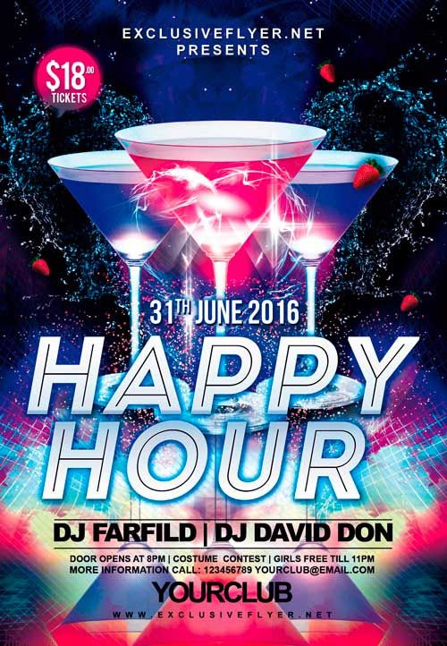free happy hour party psd flyer template u2026